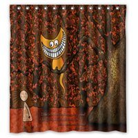 alice bath - New Arrival Polyester Bath Curtain Print Cartoon Alice In Wonderland Custom Shower Curtain Size x72 Inch Hot Selling