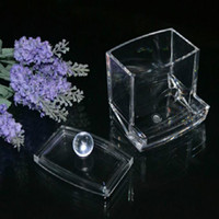 Wholesale women Storage Box Clear Acrylic Q tip Holder Box Cotton Swabs Stick Storage Cosmetic Makeup organizer powder box