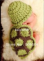 Cheap Hot selling!Lovely Baby Infant Tortoise Newborn Turtle Costume Photo Photography Prop Knit Crochet Clothes Beanie Hat Outfit