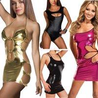 metallic mini dress - 2015 New Fashion Summer Women Sexy Dress Gothic Punk Metallic Wetlook Costumes Leather Mini Party Dresses Casual Clubwear Vestidos SV002621