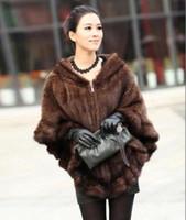 Wholesale 100 Real Genuine Knit Mink Fur Cape Stole Shawl Scarf Wrap Coat Outwear Deluxe