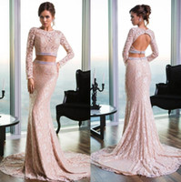 Cheap Two Piece Prom Dresses 2015 New Arrival Evening Party Gowns Applique Celebrity Gowns Long Fitting Prom Gowns Sheer Lace Long Sleeve Mermaid