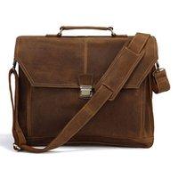 Cheap Wholesale-Rare Crazy Horse Leather Style Men's Briefcase Laptop Handbag Messenger Bag FREE SHIP #7083B