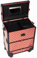 aluminum trolley tool box - multi layer trolley cosmetic box Professional Hair Stylist Aluminum Rolling Tool Box Makeup Artist Salon Train Case
