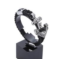 best cast - Women Men s Best Gift Black Genuine Leather Wristband Stainless Steel Casting Skull skeleton anchor Charms Rope Bangle Bracelet