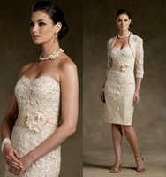 Cheap 2015 Lace Beaded Mother Of Bride Dresses Sweetheart Sash Knee Length Sheath With A Jacket Mother Of Bride Gowns Sexy Mother's Dresses