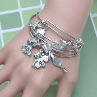 bead bracelet clasp - 10pcs mm New Fashion Rhodium Plated Mixed DIY Alex and ani Charms Beads Wiring Copper Expandable Bracelet Bangles