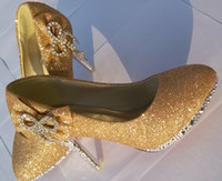 american ladies shoe sizes - Lady Dress Shoes Bowtie Diamonds Ornament American Size European Size Woman Evening Party Shoes Gold Red Silver Wedding Shoes