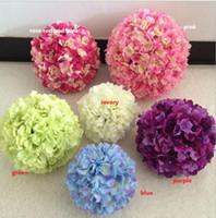 artificial flower ball - 11 inch artificial hydrangea flower ball pincushion wedding ball kissing ball wedding supermarket deoration hangings ball FB009