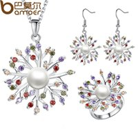 Wholesale BAMOER Luxury K Platinum Plated Pearl Jewelry Sets for Women Anniversary with AAA CZ High Quality Flower Jewelry
