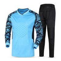 Men Pullover Crew Neck new kids soccer goalkeeper jersey set men's sponge football long sleeve goal keeper uniforms goalie sport training suit