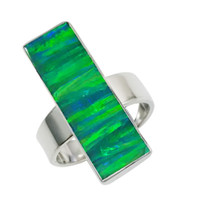 american specials - Super rectangular opal ring with comfortable round shank sterling silver for the special holder for R1187