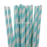 baby ornaments christmas - Diagonal Design Drinking Straws Baby Blue Color Paper Straw Colors for your choose Party Decoration