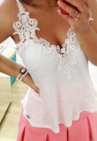 Wholesale Sexy woman s vest tops new girls sexy lace stitching deep V halter chiffon halter top three color M XL