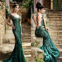 Wholesale green chiffon prom dresses mermaid illusion jewel neck cap sleeve sheer back formal beaded gowns rami salamoun evening dresses long