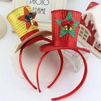 Wholesale Girls Kids Children Favor Princess Christmas Top Hat Headband Hair Head Band