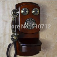 antique metal telephones - European style wall hanging type Hotel Vintage Antique Telephone mechanical bell metal rotary dial