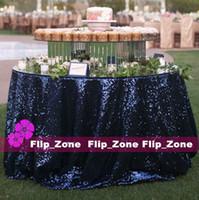 al por mayor azul marino azul paños de mesa-Vintage azul marino lentejuelas paño de tabla para el jardín Decoración de la boda Decoración de lentejuelas mantel de la mesa redonda decoración corredor faldas baratos