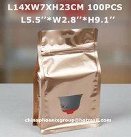 bean bags free shipping - Gold Metallic ziplock aluminum foil bag zip lock Coffee bean bag tea bag quot L14 W7 H23cm