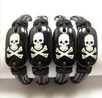 skull bracelet - handmade Surfer Leather bracelet Resin Carved Pirate Skull Bracelets Skull Skeleton Bangles MB10