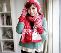 Wholesale F07225 Warm Knitted Woolen Snow Fawn Pattern Suit Scarf Cap Gloves Red Christmas Best Gift