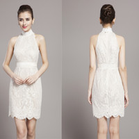 Wholesale High end Elegant White Lace Cocktail Dresses Halter Knee length Toast Clothing Formal Dress Slim Gown Party Dresses for Business Reception