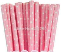 baby supplies uk - 500pcs Baby Pink Paper Straws White Swiss Dot UK Birthday Baby Shower Cake Pop Sticks Party Supplies Decorations
