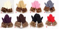 Wholesale Fashion lady s Faux Fur Mittens winter Knitted Halter Gloves Mittens for Women
