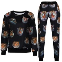 Cheap Two Piece Set Women men's set Clothes Female Punk sweats suits 3D Tiger Stripes Fashion harajuku sweatshirt Winter Top&Pant Sets