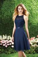 beautiful modest prom dresses - 2015 Modest Bridesmaid Dresses Beautiful A line Scoop Neck Knee Length Backless Ribbon Sash Chiffon Evening Prom Gowns Custom Made