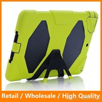 air free military - Military Extreme Heavy Duty Shockproof Case Silicone Back Cover Stand Robot Case for iPad DHL