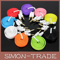 Wholesale 3 mm AUX Audio Cable Male to Male Flat Noodle Audio Extension AUX Cable Adapter for Pc iphone6 S S Car for iPods
