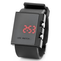 Wholesale LED WristWatch Black White Digital Backlight Mirror WATCH Unisex Casual Sport Watches Gift students Women Men Lover Box packaging