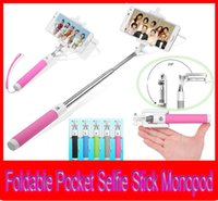 Wholesale Extendable Pocket Selfie Stick Monopod Mini Foldable Extendable Selfie Stick Wired with Remote Shutter Button Mini Protable Sefie Sticks