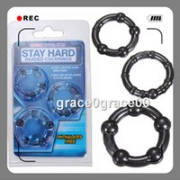 Plastic beaded silicone erection rings - 3Pcs Triple Silicone Time Delay Penis Ring Penis Erection Aid Impotence Donut Cock Rings Stretchy Soft Beaded sleeve Sex Toys Adult Products