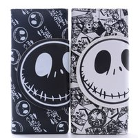Wholesale Nightmare Halloween Christmas Black White Jack Skull PU Leather for Hallowmas Long Layer Wallet Coins Cards Pouch Bag cm