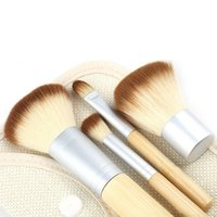 bamboo cosmetic packaging - Bamboo Makeup Brush Set Make Up Brushes Cosmetics Powder Blush tool with retail package A042