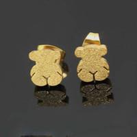 bear studs - 12 Pairs Luxury Popular Women Stud Earrings High grade Stainless Steel Overgild Jewelry Lovely Bear Shape Earring