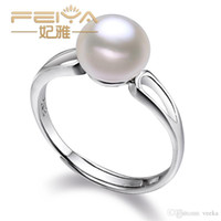 pearl - Veeka jewelry white freshwater pearl ring sterling silver wedding rings for women fashion accessories jewelry gift
