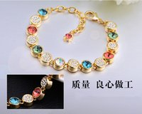 best jewerly - 2015 Hot Rainbow Bracelet Fashion Colorful gold crystal love Bracelet Bangle women best quality Jewerly