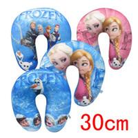 Wholesale Frozen U shaped Pillow Travel Fashion Cartoon Elsa Anna Children U Shape Pillows Kids Neck Pillow Nap Travel Pillow CM Cotton Blue Pink