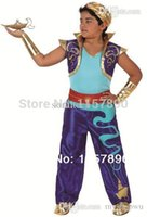 aladdin vest - Carnival cosplay costume kid Aladdin costume set with vest waistband and gloves XY10245