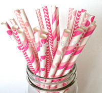 Wholesale 250pcs Mixed Designs Pink Birthday Party Drinking Paper Straws Stripe Polka Dot Chevron Party Supplies Decorations