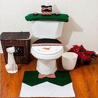 Wholesale 3pcs set Christmas Snowman Warmer Toilet Washable Cloth Seat Cover Toilet Rug Decorations Set Gift EJ677599