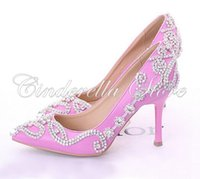 Cheap Glamorous Popular Pink Wedding Shoes Bridal Party High Heels with Rhinestone Pointed Toe Three Inch Party Prom Heels