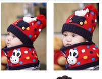 Wholesale Hot Baby knitting woolen scarf and hat set winter cap cm scarve set fashion lovely christmas gift rabbit color YQS G105514