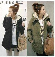 Wholesale 2013 Winter Women Thicken Fur Quilted Woolen Outwears Lady Green Black Long Sleeve Warmest Coats Jackets basic casual outwear