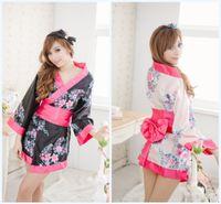 Cheap Improved women's sexy lingerie Japanese kimono rare edition big bow belt printing kimono three group