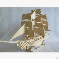 Wholesale A0023 Westem Sailboat g handmade D wooden simulation model DIY model toy