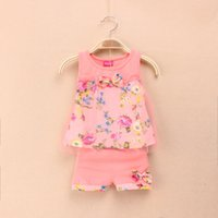 Wholesale summer Baby Girls Children s clothes lovely Roses flower Vest Pants sets suit of girls Kids clothing
